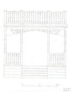Skiss till ny veranda med balkong ovanpå.