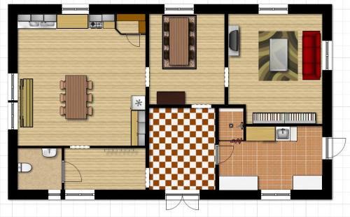 Bottenvåningens planlösning med matsalen i mitten.