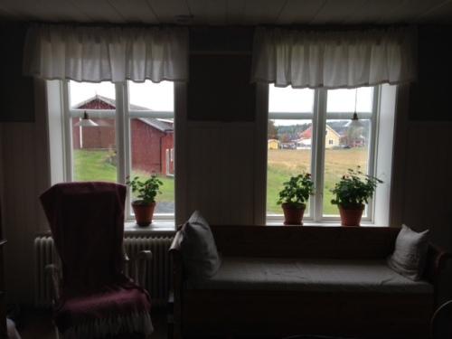 En något mörk bild av kökets provisoriska gardinsupphängning.